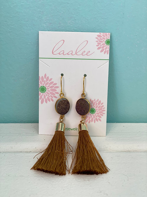 Gold Tassel Earrings Purple/Gold
