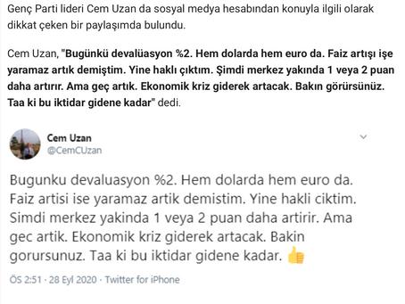"""""""Yine haklı çıktım""""Türk Lirası'nın döviz karşısındaki değer kaybı devam ediyor."""