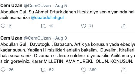 Abdullah Gul , Davutoglu , Babacan. Artik ya konusun yada ebediyete kadar susun.