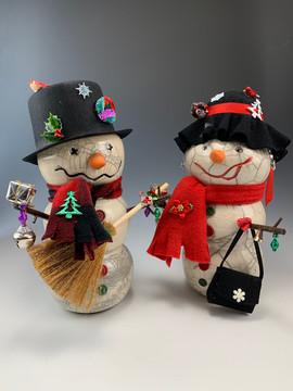 Randy and Ruthie the Raku Snow People