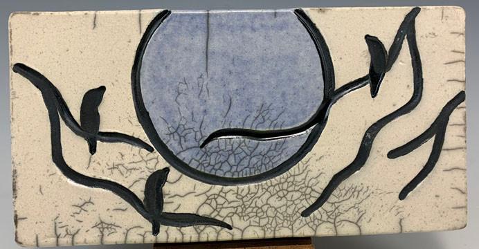 Once in a Blue Moon Raku Wall Tile