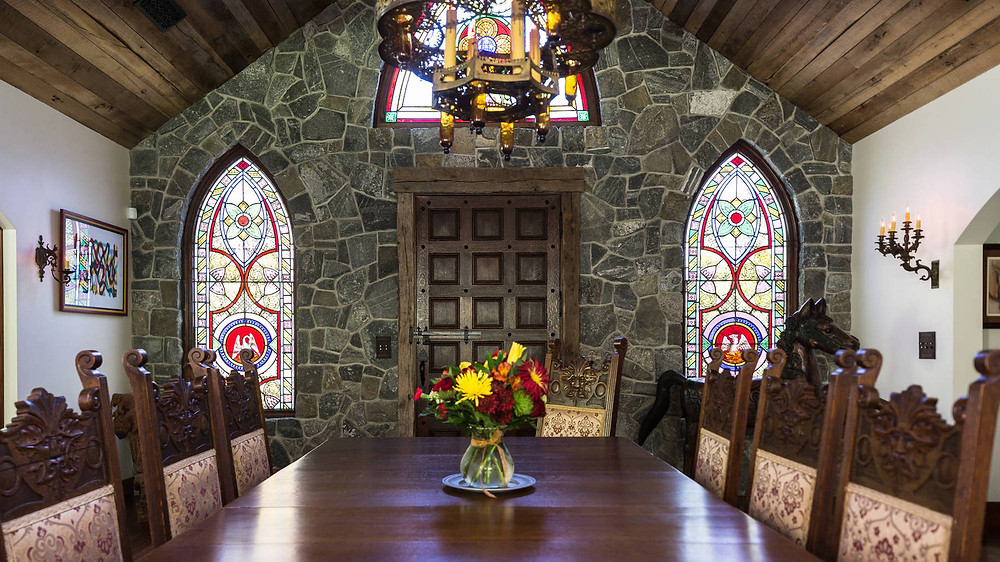 Salvaged stained-glass windows