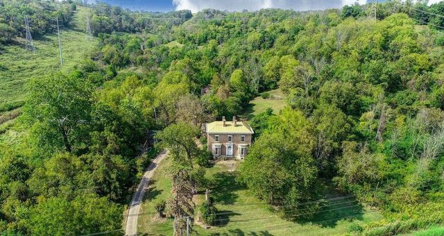 historic home in lawrenceburg in overhead photo