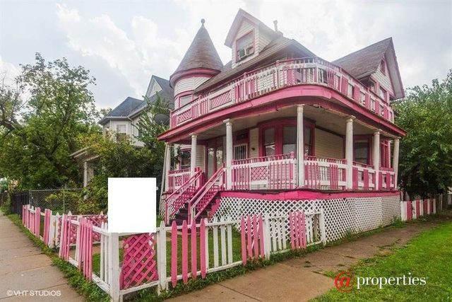 pink and white house in Chicago