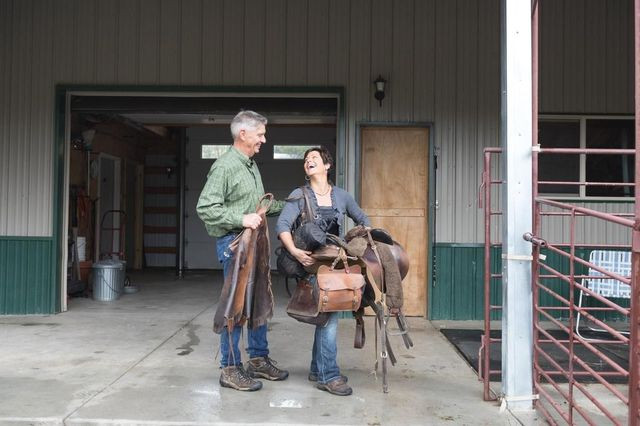 The Steyns, who are veterinarians, on their ranch.