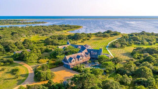 Obama Island in Martha's Vineyard overhead view