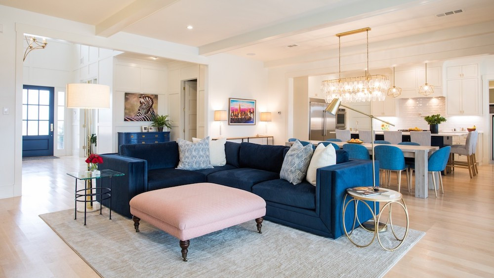 An open-plan living area in the Grochowski home in Fort Worth's River District.