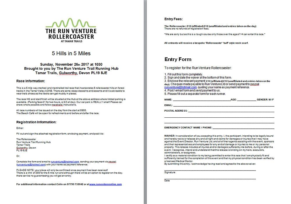 Run Venture Rollercoaster Registration Form