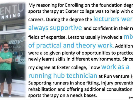Run Venture's James gets a shout-out on Twitter from Exeter College sports department