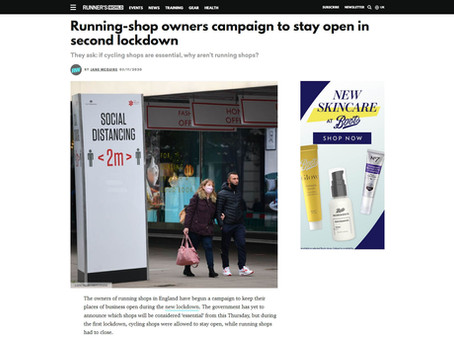 Running-shop owners campaign to stay open in second lockdown, Runner's World