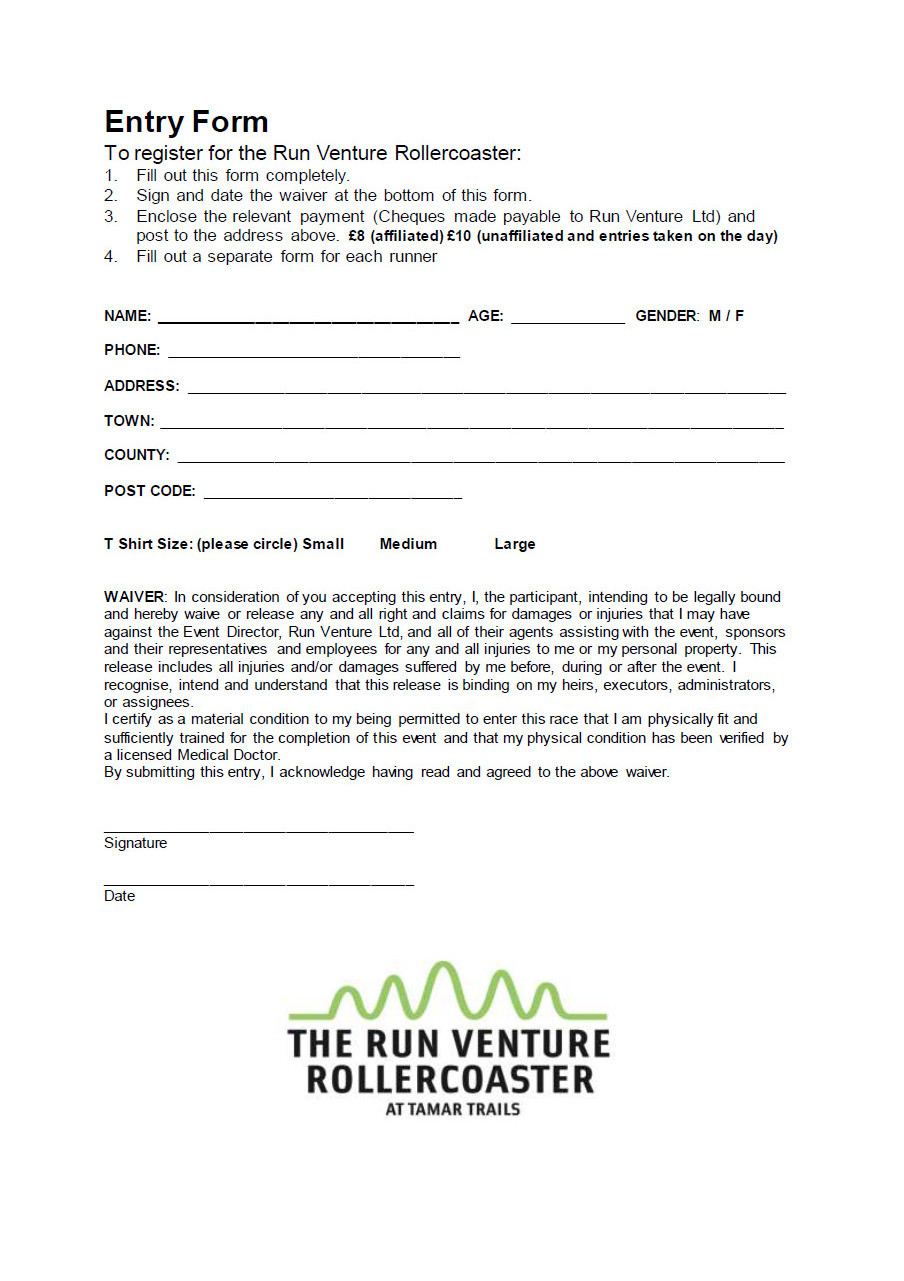 Run Venture Rollercoaster Registration Form