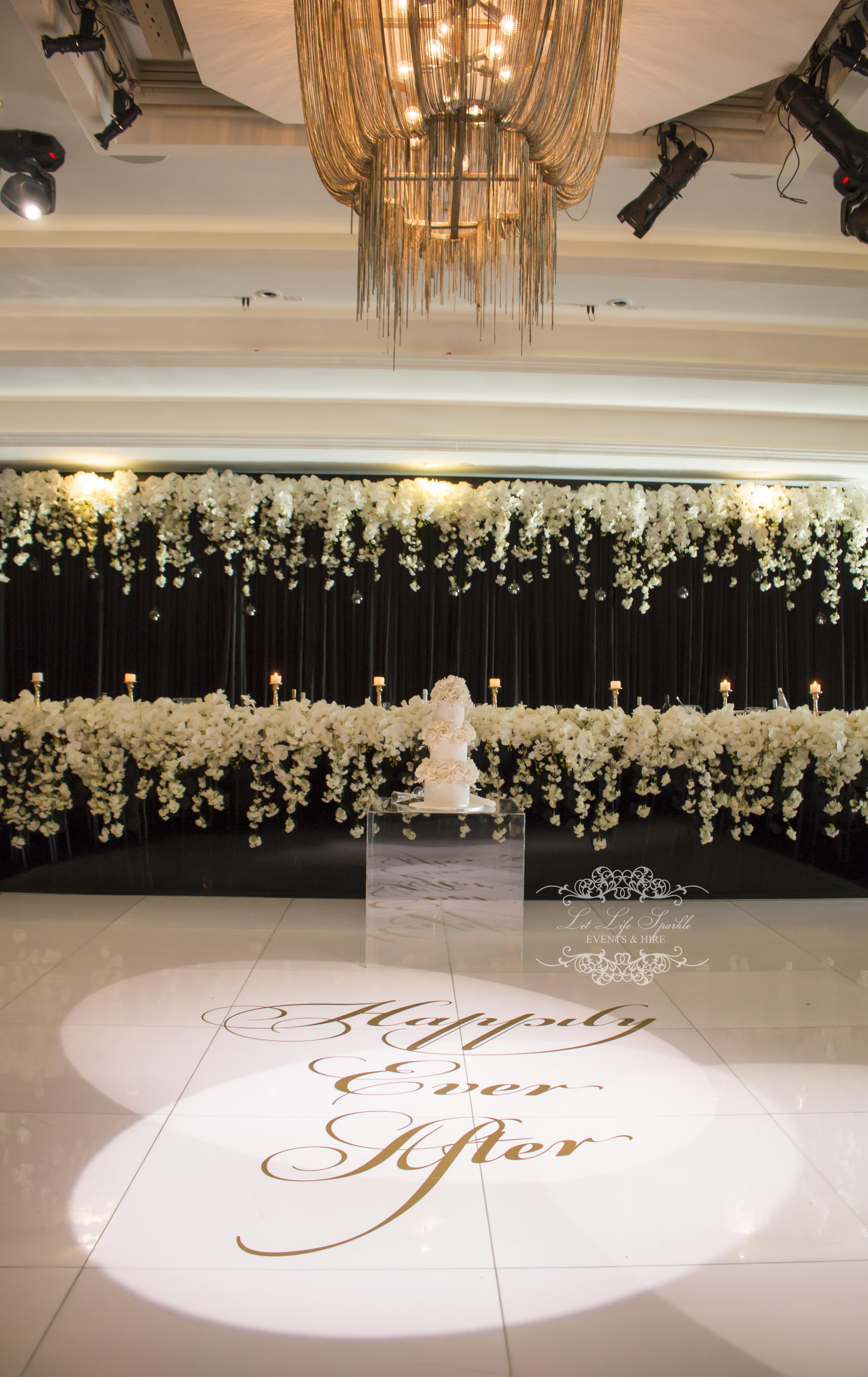 Black Gloss Bridal Table Dance Floor Blossoms