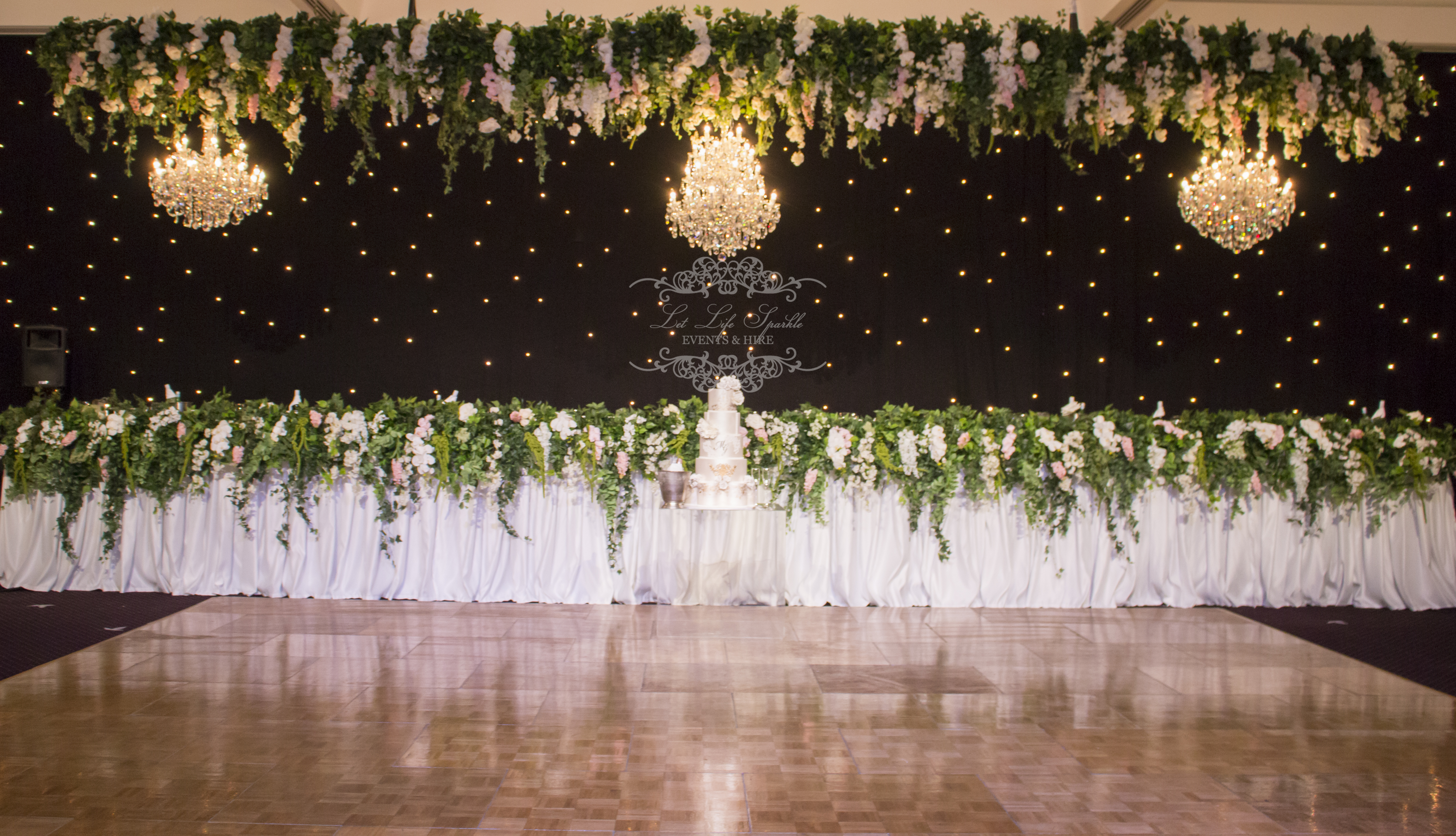Chandeliers & Floral Ceiling Installation