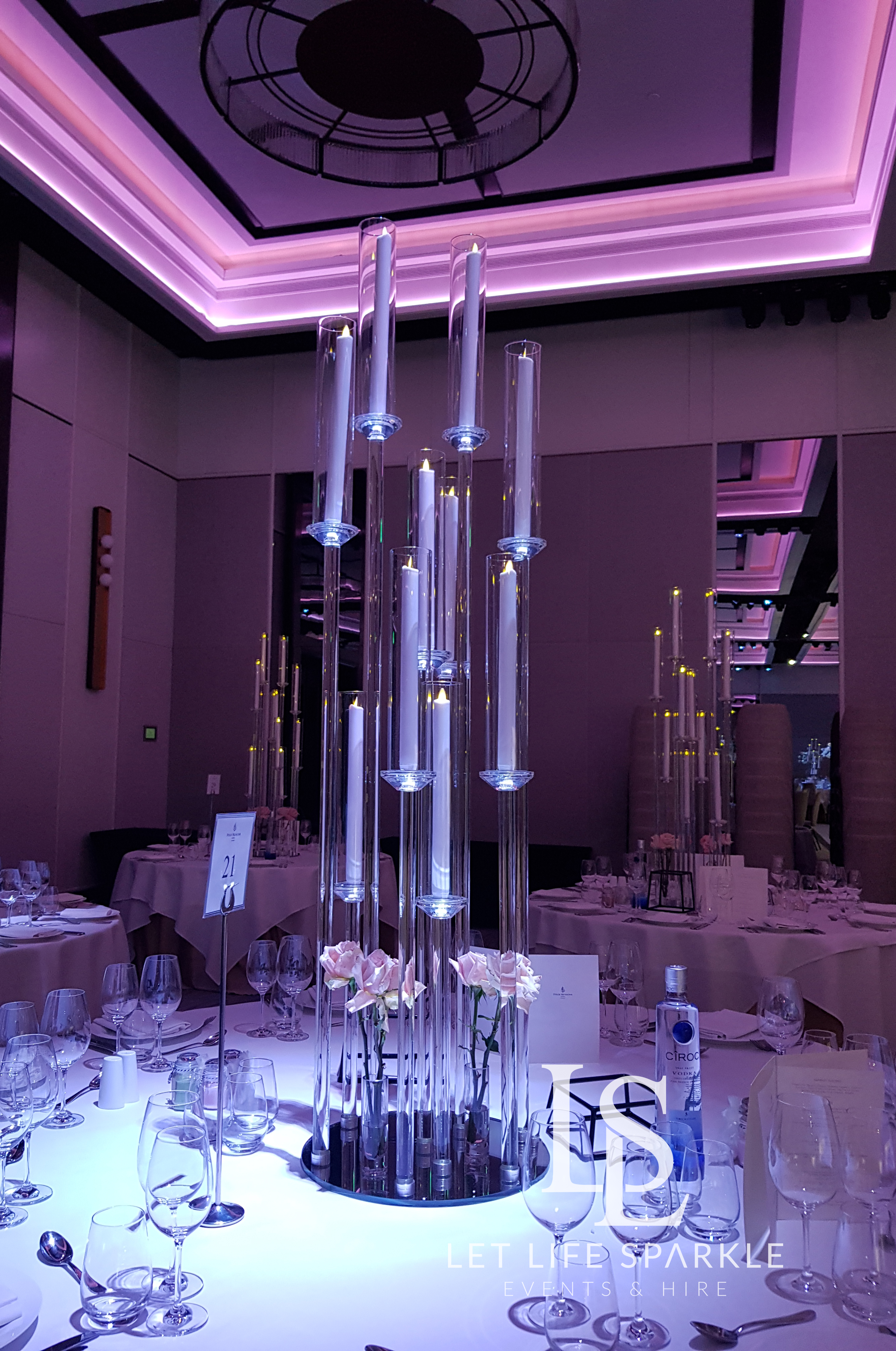 Clear Modern Taper Candle Candelabra