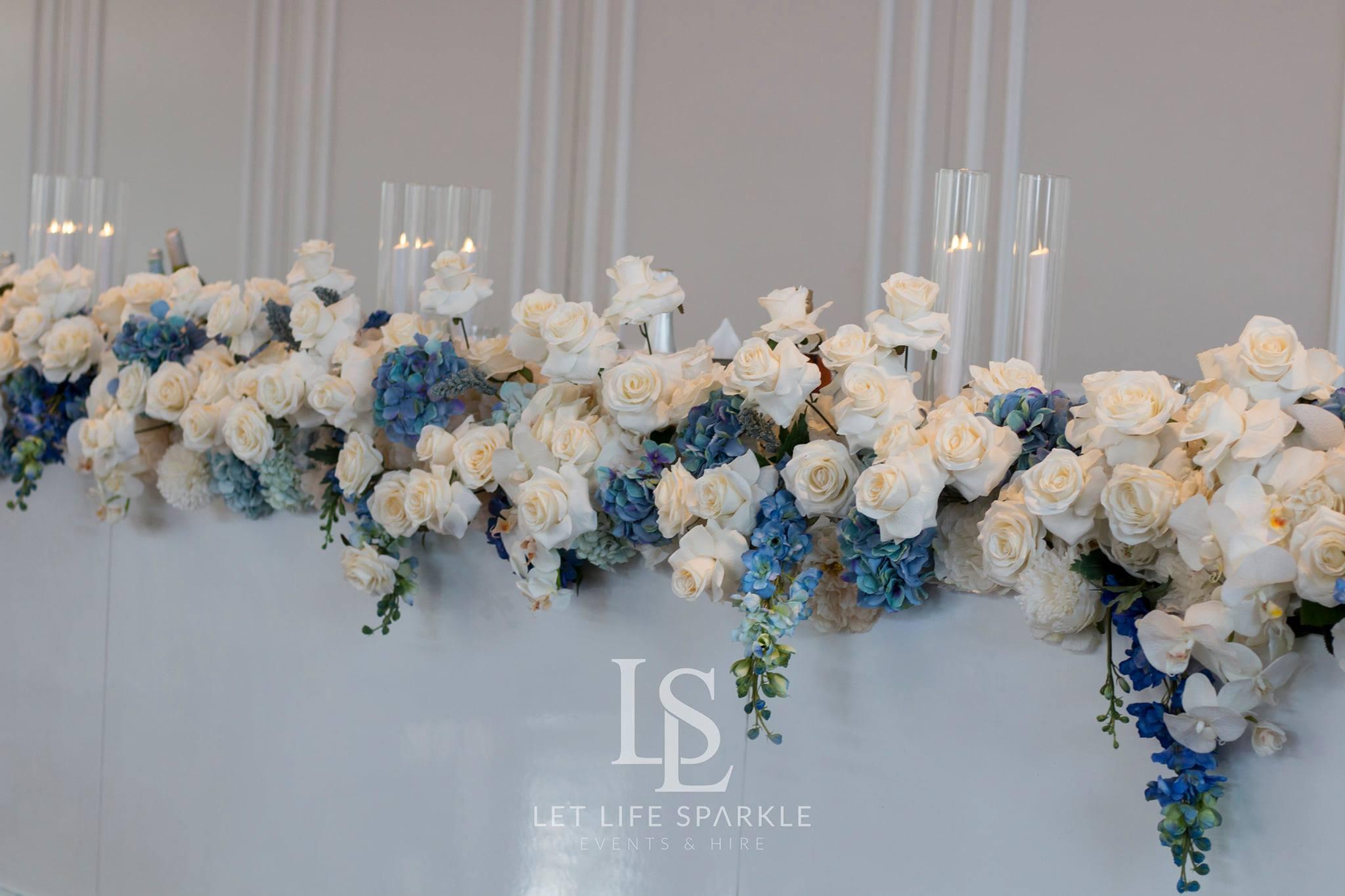 Sandra Blue & White Bridal Table Florals
