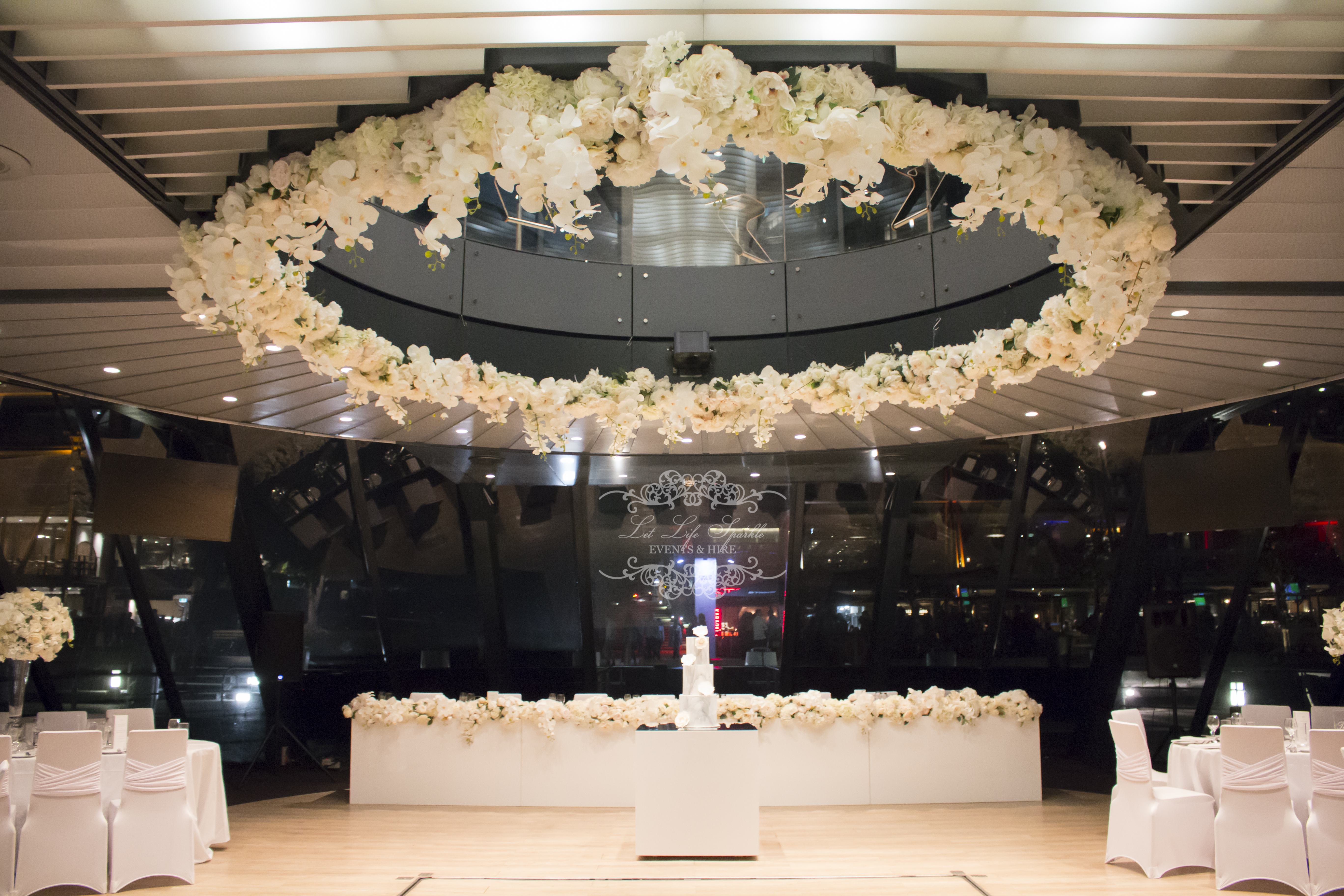 White Halo Floral Ceiling Installation