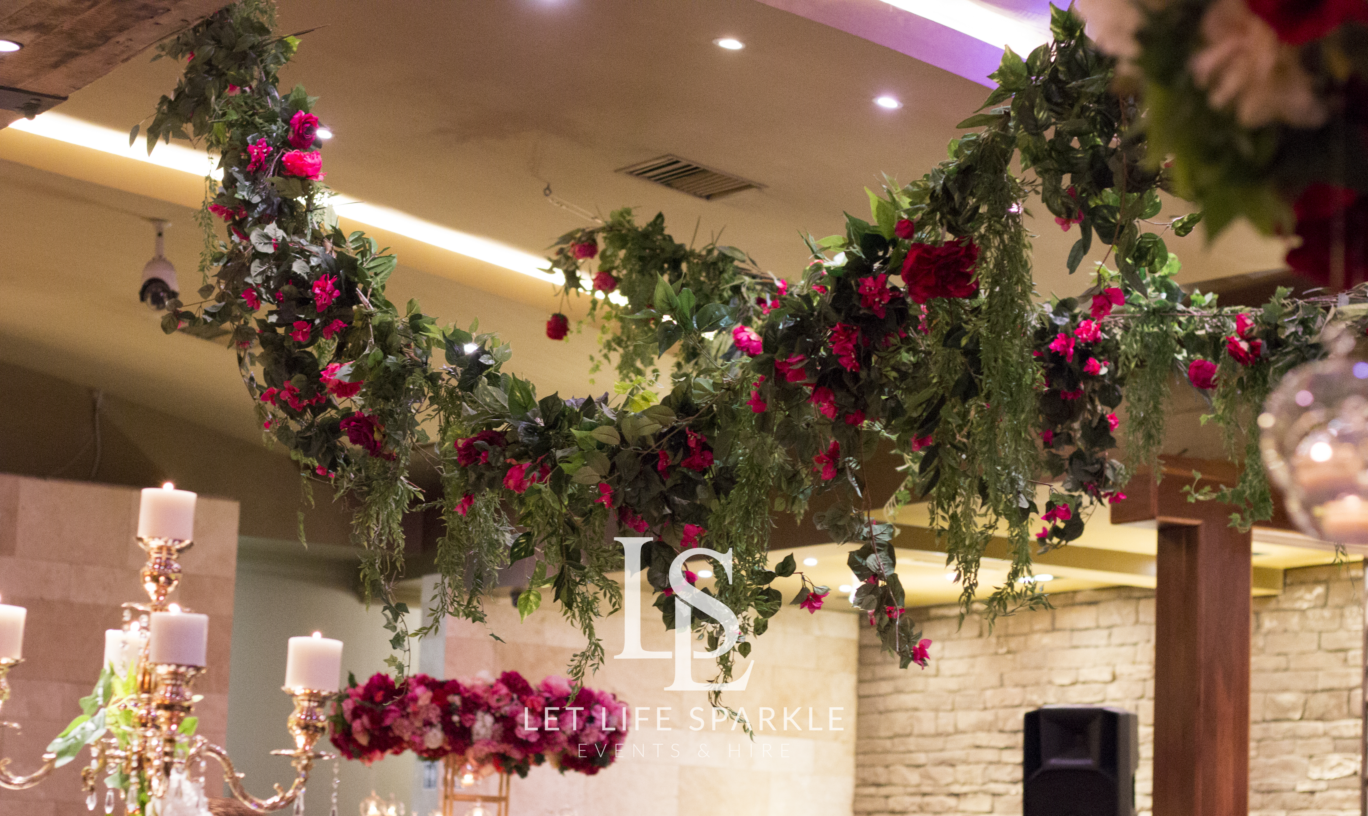 Foliage & Floral Strands Ceiling Canopy