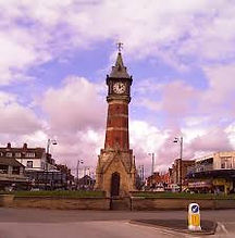 Skegness clock tower near caravansfor hire at Butlins in Skegness