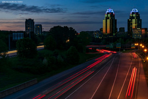 """Sunset at the """"King and Queen"""" buildings in Atlanta GA"""