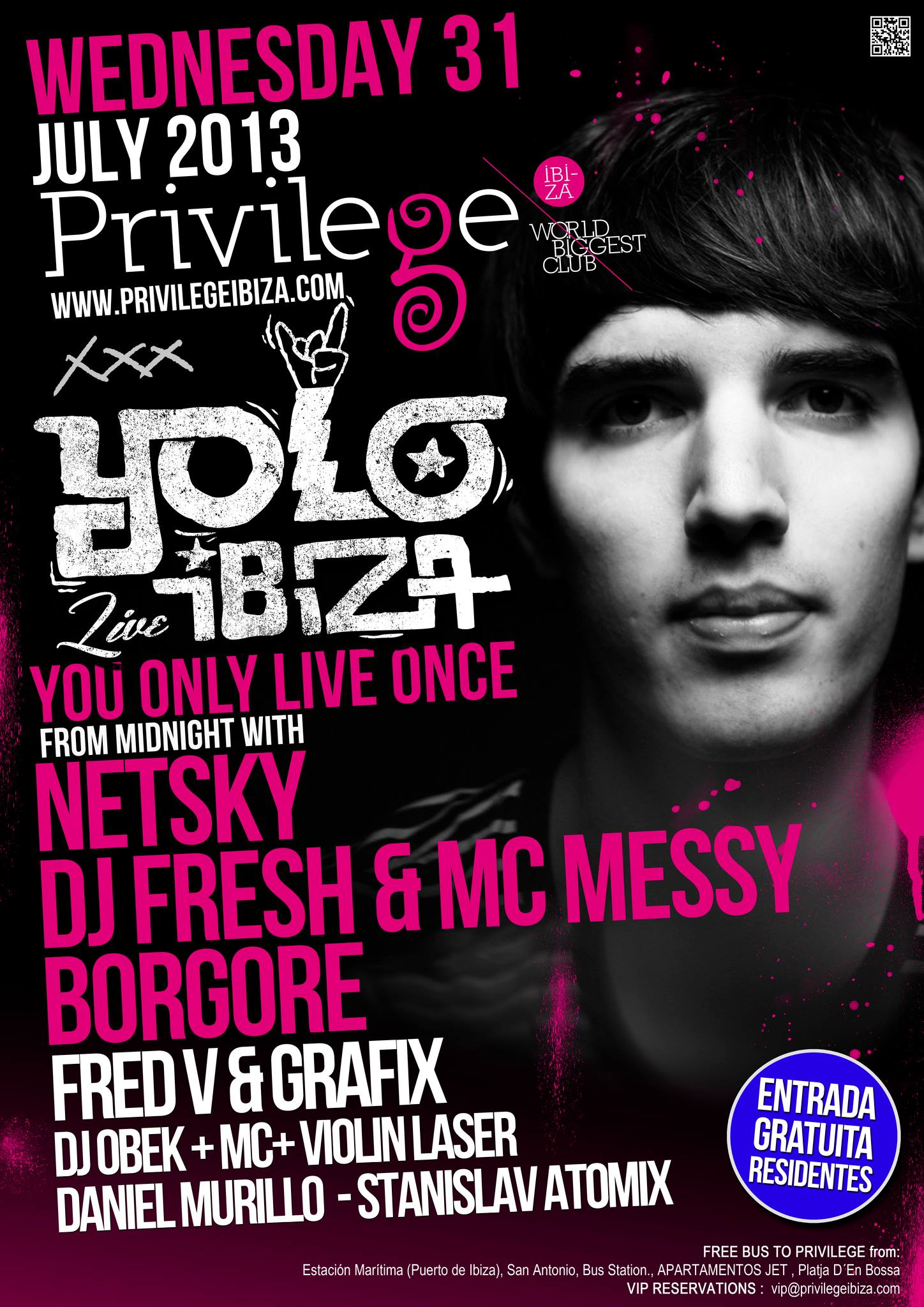 YOLO Ibiza 31 July Flyer