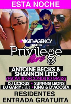 Privilege Live! Antoine Becks & Shannon Leto