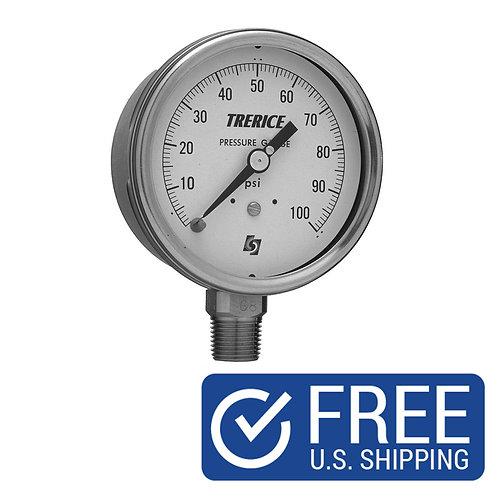 "TERRACE 1/4"" PRESSURE GAUGE 0-200 PSI TRE-700B2502LA130"