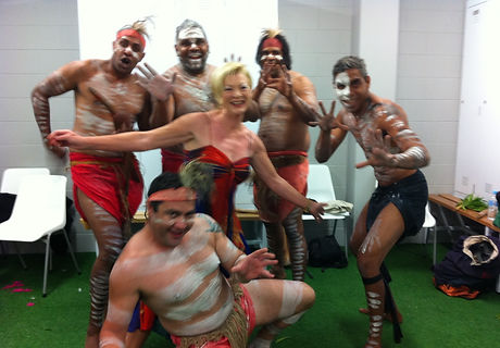 Cheryl and Aboriginal troupe at 4 nations.jpg