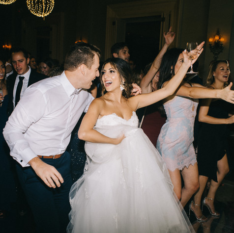 """When we got engaged, our number one priority was the band and entertainment. It was so important to me to find one that accommodated all of our guests. Since my family is persian, and Ethan's family is mainly American and we live in Oklahoma, there truly weren't many options for us. I searched LONG and HARD for band that can do both American and Persian songs. One day I stumbled across Eli's Band on YouTube and knew IMMEDIATELY that this was my absolute dream band! Every weekend up until our wedding we would sit and watch all of Eli's Bands Instagram videos just getting more and more excited for them to come to our wedding.  When people asked us what we were most excited for the wedding, Ethan and I always said the band! And after that night, all of our guests finally understood why!! You guys truly made the wedding so fun and memorable. I couldn't stop dancing all night!! The energy you guys have is unreal! I don't know how you guys do it but you had EVERYONE on the dance floor. No one could resist dancing and singing along with you all.   On top of everything else, you guys were so wonderful to work with beforehand. I loved and truly appreciated how organized and engaged you were with our wedding process. We still have people ranting and raving about you all and how amazing you guys were!!! Eli's band is truly one of a kind and their talent is unmatched. Trust me, I searched through a lot of bands before finally finding them!   I'm so glad you guys came all the way to Oklahoma for us!!!! It was an honor to be able to introduce you to our little city down here! It truly would not have been the same without you!! Thank you again!!!!"" - TARA & ETHAN - OKC Golf & Country Club, Oklahoma"