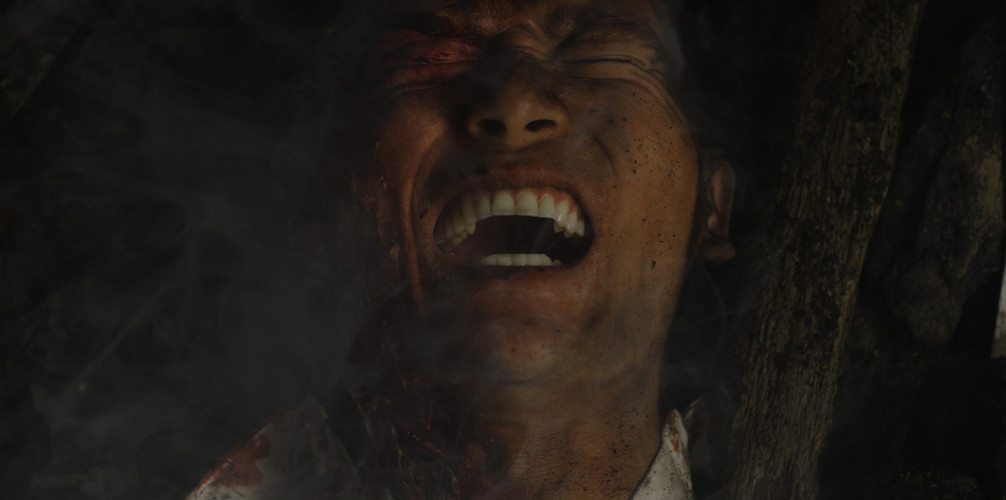 Shinji Mikamo in agony post-bomb.