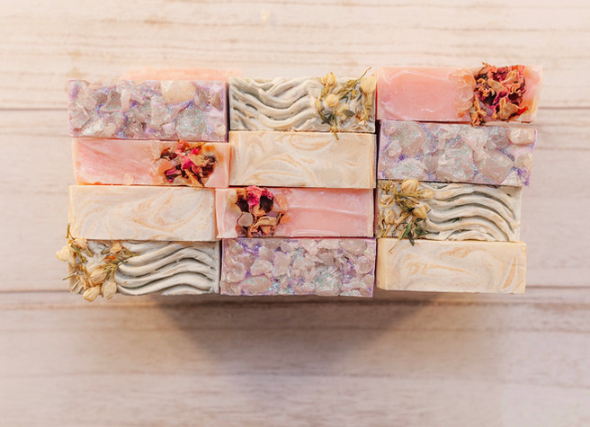 Passion on the Rocks, Burgundy Rose, Turmeric Lemongrass, and Blueberry Thyme