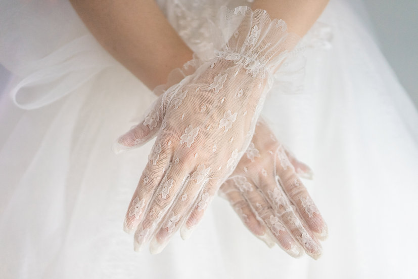 Pure White Tulle Gloves