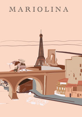 Collection villes dessins illustrations A4 personnalisée