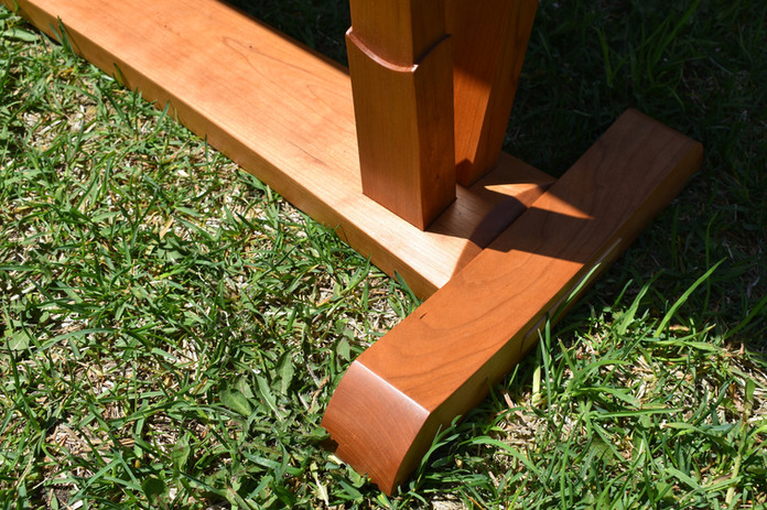 Cherry table base detail.