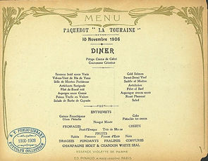 Menu Card of La Touraine