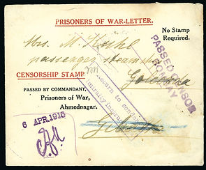 Letter written by one POW at India's Ahmednagar Prison to someone aboard the SS Golconda