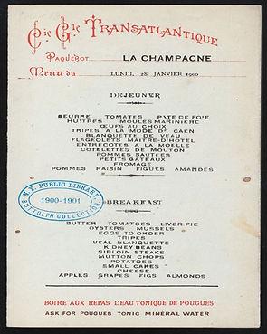 Menu Card of La Champagne