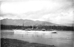 The SS Peninsular leaving Vancouver dock