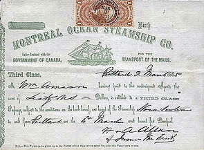 A Third Class Passenger Ticket of Allan Line in 1885