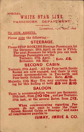 Notice to Booking Agents of the White Star Line in1892