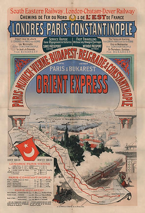 Poster Displaying Time Table of the Orient Express During the Winter of 1888-89