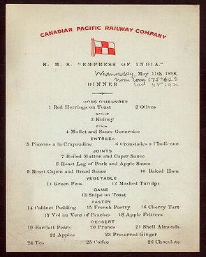 Menu Card of RMS Empress of India