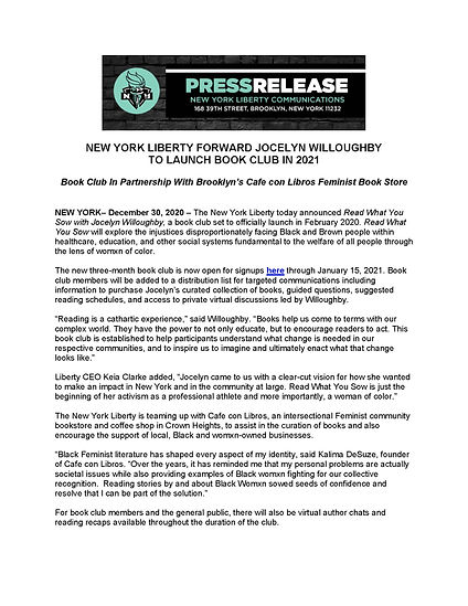 PRESS RELEASE-NEW YORK LIBERTY FORWARD J