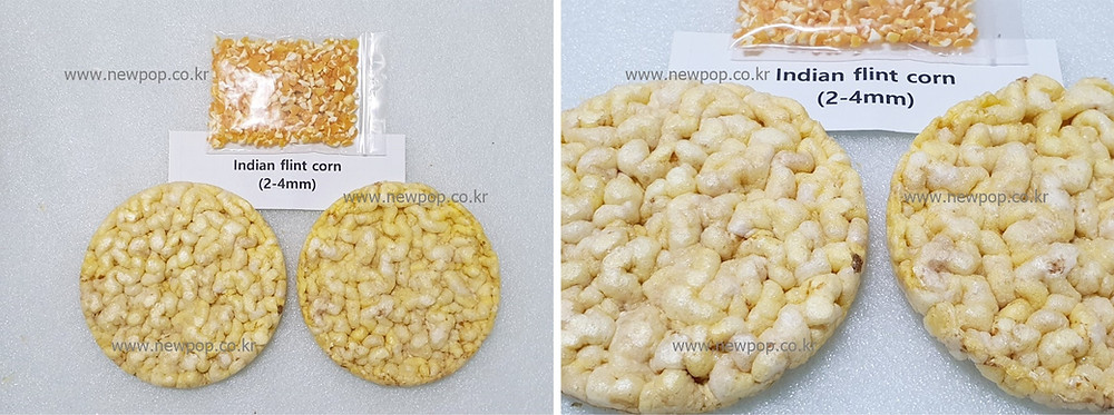 Test of SYP9002 popped cake machine by Indian flint corn 2-4mm