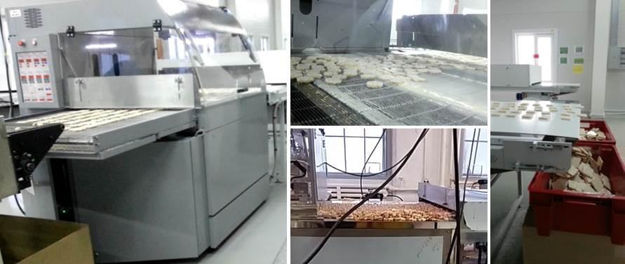 Producción de galletas de arroz recubiertos de chocolate