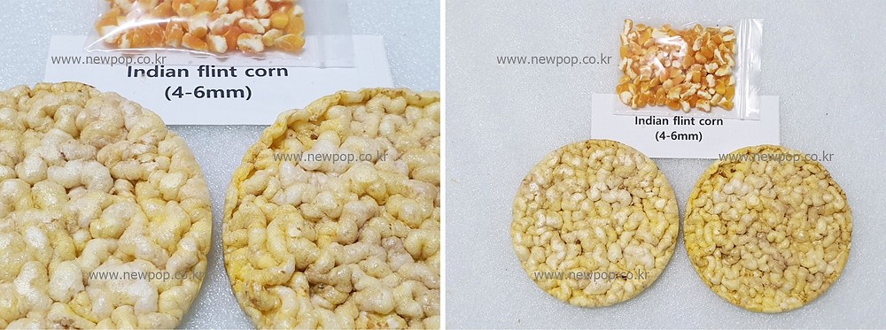 Test of SYP9002 popped cake machine by Indian flint corn 4-6mm