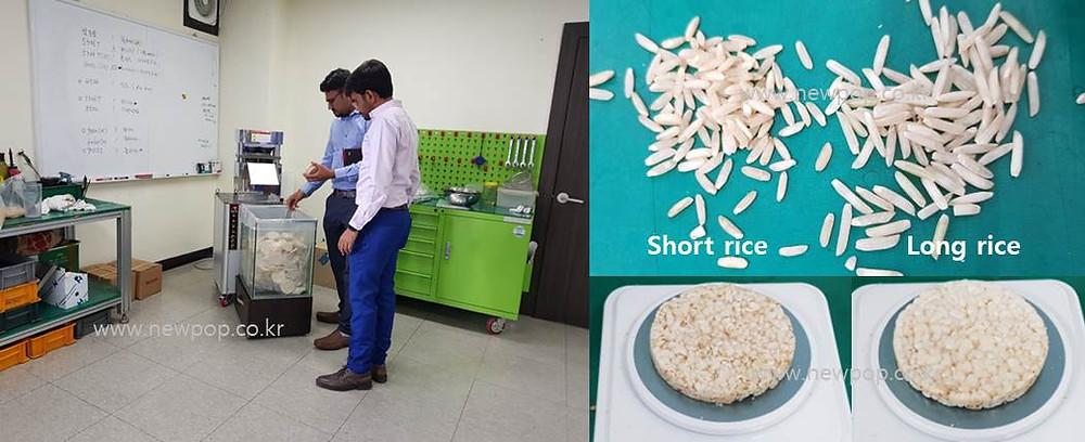 Prueba de tortitas de arroz máquina SYP9002 por comprador indio