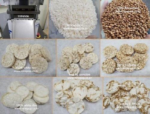 Arroz y alforfón por tortitas de arroz máquina.