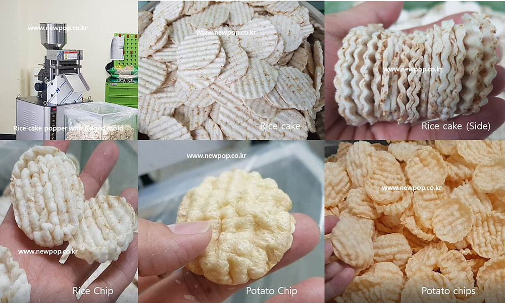 Ridged surface rice cake machine