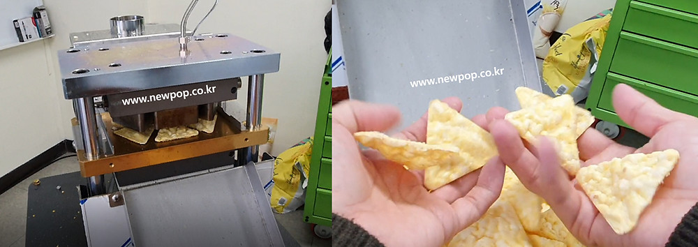 Triangle popped chips machine