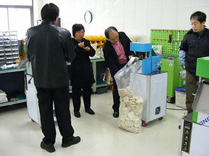 Buyer's visit rice cake machine factory